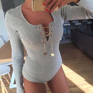 Sexy Solid Color Alloy Lace-Up Long Sleeve Knitted Bodysuit For Women