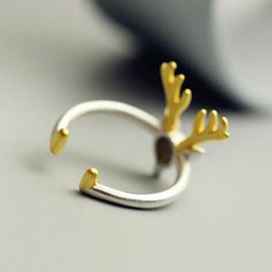 Christmas Style Elk Shape Cuff Ring - SILVER ONE-SIZE