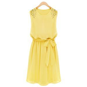 Chic Scoop Neck Sleeveless Pure Color Beaded Women's Chiffon Dress - Yellow - 2xl
