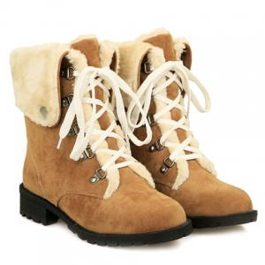 Fashionable Plush and Lace-Up Design Women's Short Boots -