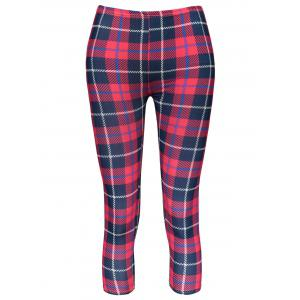Trendy Plaid Bodycon Elastic Waist Women's Leggings - Red - One Size(fit Size Xs To M)