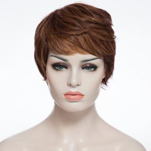 Fashion Fluffy Side Bang Brown Mixed Elegant Short Curly Synthetic Capless Wig For Women