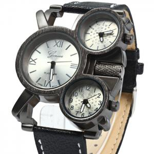 Geneva Three Movt Male Quartz Watch with Leather Band - RED
