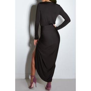 Deep Plunging Neck Ruffled Long Sleeve Dress - BLACK M