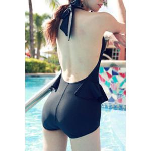 Trendy V-Neck Solid Color One-Piece Swimsuit For Women -