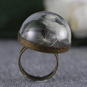 Vintage Glass Cover Dandelion Ring -
