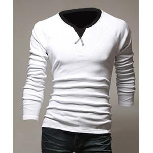 Classic Color Block Triangle Pattern Slimming Round Neck Long Sleeves Men's Linen Blended T-Shirt