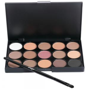 15 Colors Girl Makeup Natural Eye Shadow Palette with Brush - Jet Black 01#