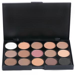 15 Colors Girl Makeup Natural Eye Shadow Palette with Brush - JET BLACK