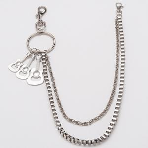 Stylish Guitar Shape Embellished Two Layered Trouser Chain For Men -
