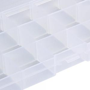 Transparent Plastic Storage Box 15 Compartments Jewelry Earring Tool Containers -