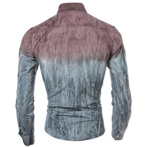 3D Tie-Dye Abstract Pattern One Pocket Slim Fit Shirt Collar Long Sleeves Men's Ombre Button-Down Shirt -