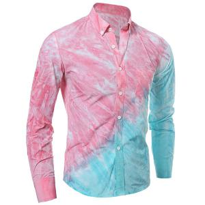 Contrast Pocket Long Sleeve Tie Dye Design Button Down Shirt - Pink - M
