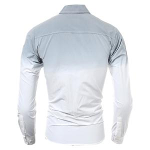 Hot Sale Tie-Dye Ombre Design Slimming Shirt Collar Long Sleeves Men's Button-Down Shirt - GRAY 2XL