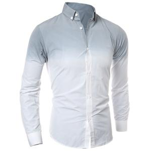 Hot Sale Tie-Dye Ombre Design Slimming Shirt Collar Long Sleeves Men's Button-Down Shirt - Gray - L