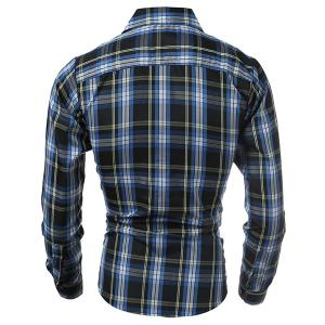 Casual Turn-down Collar Classic Color Block Plaid Pattern Long Sleeves Men's Slimming Shirt -