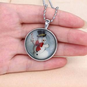 Cute Bowknot Luminous Christmas Snowman Sweater Chain Jewelry For Women -