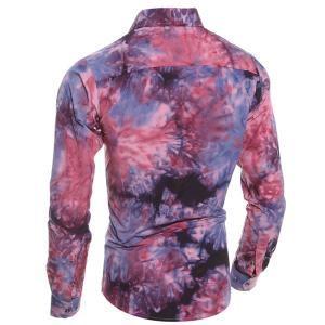 Abstract Floral Pattern 3D Tie-Dye Design Slimming Shirt Collar Long Sleeves Men's Shirt - RED L