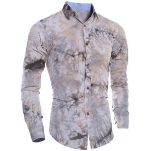 Abstract Floral Pattern 3D Tie-Dye Design Slimming Shirt Collar Long Sleeves Men's Shirt