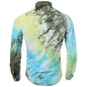 Long Sleeve Pocket Tie Dye Design Button Down Shirt -