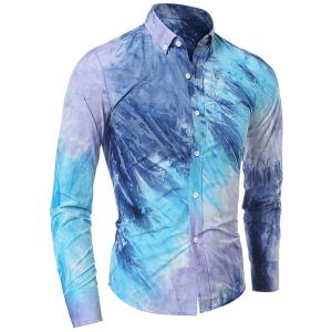 Long Sleeve Pocket Tie Dye Design Button Down Shirt