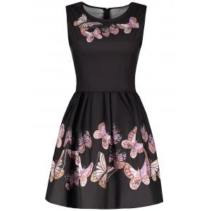 Vintage Round Collar Sleeveless Butterflies Print Women's Ball Gown Dress - Black - L