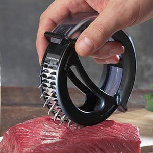 Round Handheld Stainless Steel Tenderloin Beaf Steak Needle Mallet Meat Cooking Tool - RANDOM COLOR