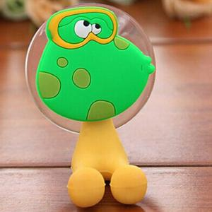 Novel PVC Frog Style Toothbrush Sucker Small Gadgets Holder - Green And Yellow - Frog Style