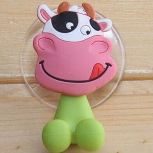 Novel PVC Milk Cow Style Toothbrush Sucker Small Gadgets Holder - Green And Pink - Milk Cow Style