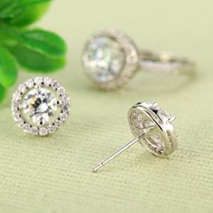 Pair of Stylish Faux Crystal Rhinestone Round Earrings For Women -