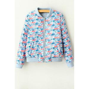 Stylish Stand Neck Long Sleeve Full Fish Print Women's Jacket