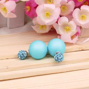 Pair of Pure Color Round Faux Pearl Stud Earrings for Women -