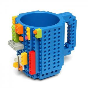 DIY Creative Building Blocks Style Build-On Brick Mug Tea Cup - Blue - S