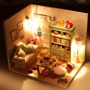 Creative DIY Wooden Miniature Doll House Furniture Toy Handmade Room Model Practical Birthday Gift -