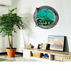 3D Underwater World and Fish Style Removable PVC Wall Stickers Colorful Room Window Decoration -