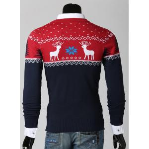 Color Spliced Christmas Snowflake Deer Jacquard Round Neck Long Sleeves Men's Thicken Sweater -
