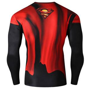 Cool 3D Superman Pattern Color Block Skinny Round Neck Long Sleeves Men's Quick-Dry T-Shirt - COLORMIX M