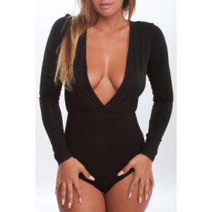 Stylish Plunging Neck Long Sleeves Pure Color Women's Bodysuit