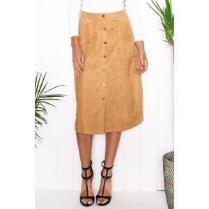 Stylish High Waist Faux Suede A Line Women's Skirt