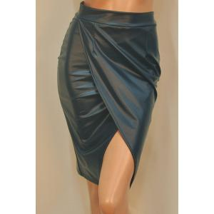 Stylish High Waisted PU Leather Women's Bodycon Skirt - Blackish Green - M