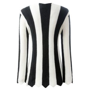 Stylish Long Sleeve Black and White Striped Women's Jumper - WHITE AND BLACK L