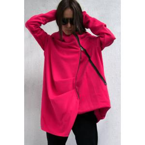 Stylish Hooded Long Sleeve Irregular Zipper Women's Trench Coat