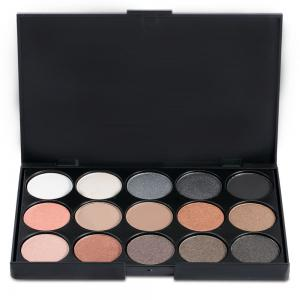 15 Colors Girl Makeup Natural Eye Shadow Palette with Brush - BLACK