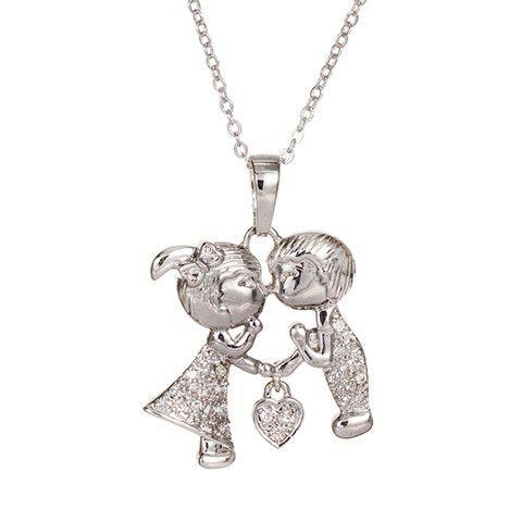 Outfit Sweet Rhinestone Solid Color Boy And Girl Shape Necklace For Women