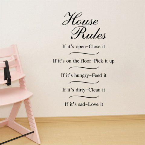 Fancy House Rules Words Style Removable Wall Stickers for Room Window Decoration