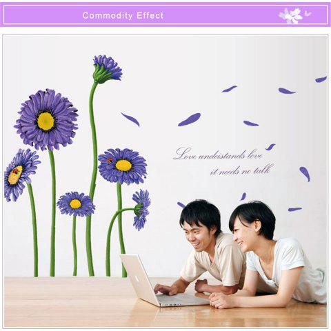 Buy Beautiful Sunflower Style Removable Wall Stickers Colorful Room Window Decoration PURPLE