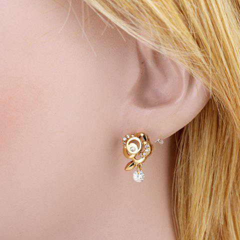Latest Pair of Stylish Rhinestone Floral Hollow Out Earrings For Women