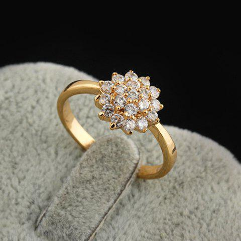 Outfits Rhinestoned Floral Decorated Ring - ONE-SIZE WHITE Mobile