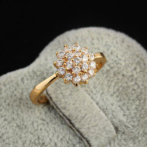 Fancy Rhinestoned Floral Decorated Ring - ONE-SIZE WHITE Mobile