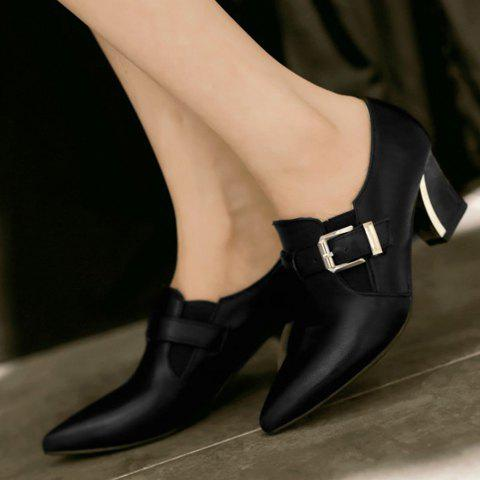 Outfits Fashionable Buckle and Elastic Design Women's Pumps - 39 BLACK Mobile